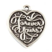 Forever Yours / Forever Mine Heart Sterling Silver Charm